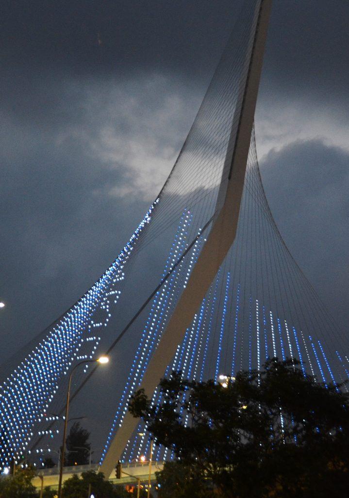 Jerusalem lit on String Bridge at night