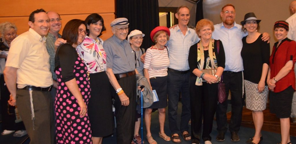 Family of Deborah Lipstadt pose after her lecture on antisemitism in Jerusalem