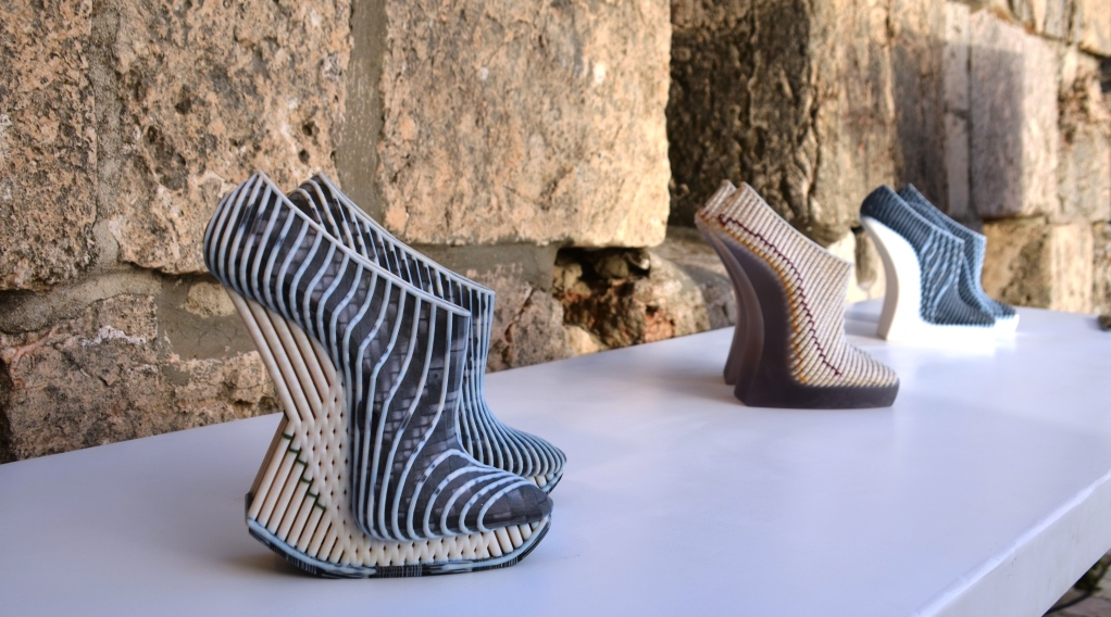3D printed shoes at Overall fashion event in Jerusalem Israel