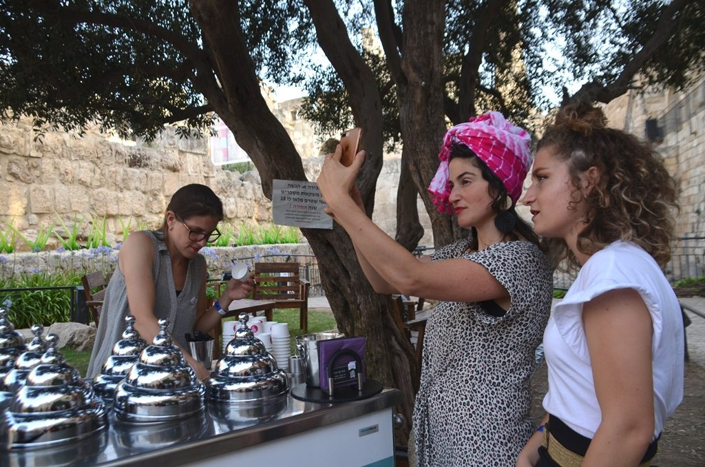 Two women taking selfie at Tower of David Jerusalem Overall event