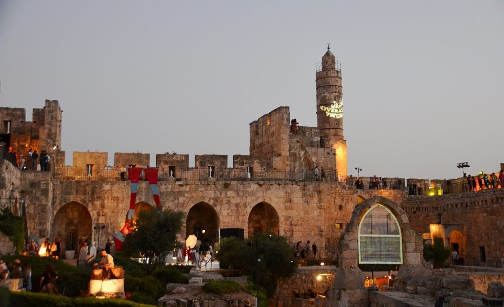 Tower of David at sunset for Overall fashion event