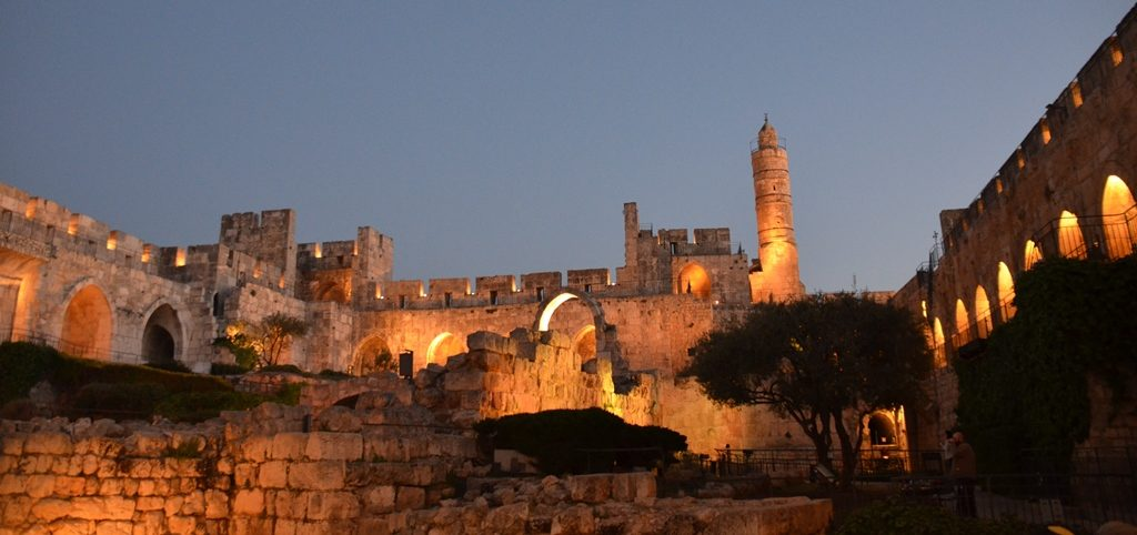 Tower of David sunset view inside