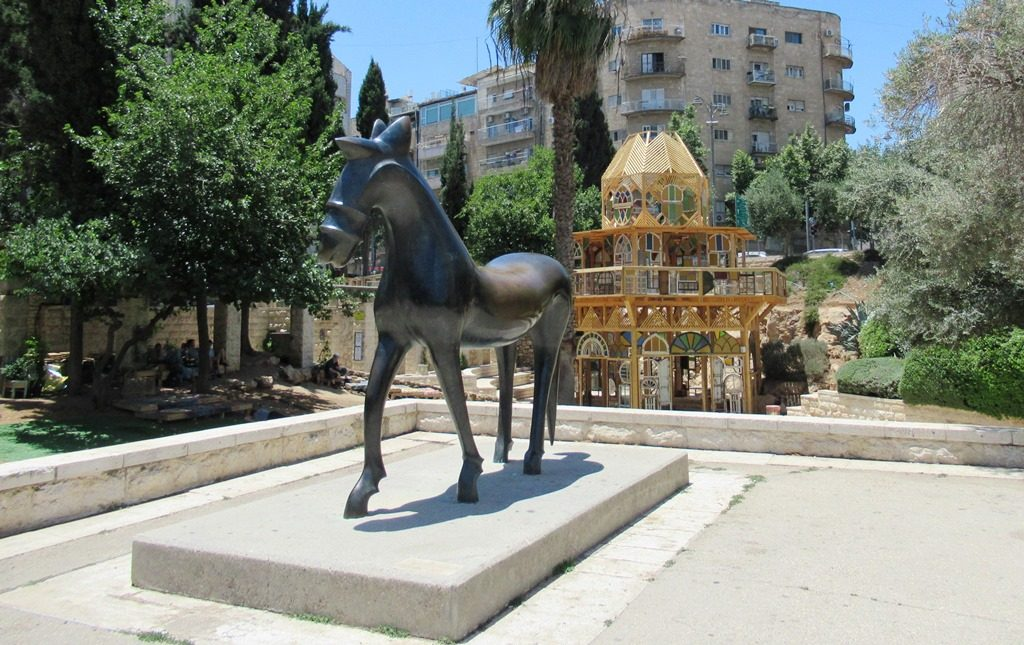 Jerusalem Israel park with horse stature and Windows