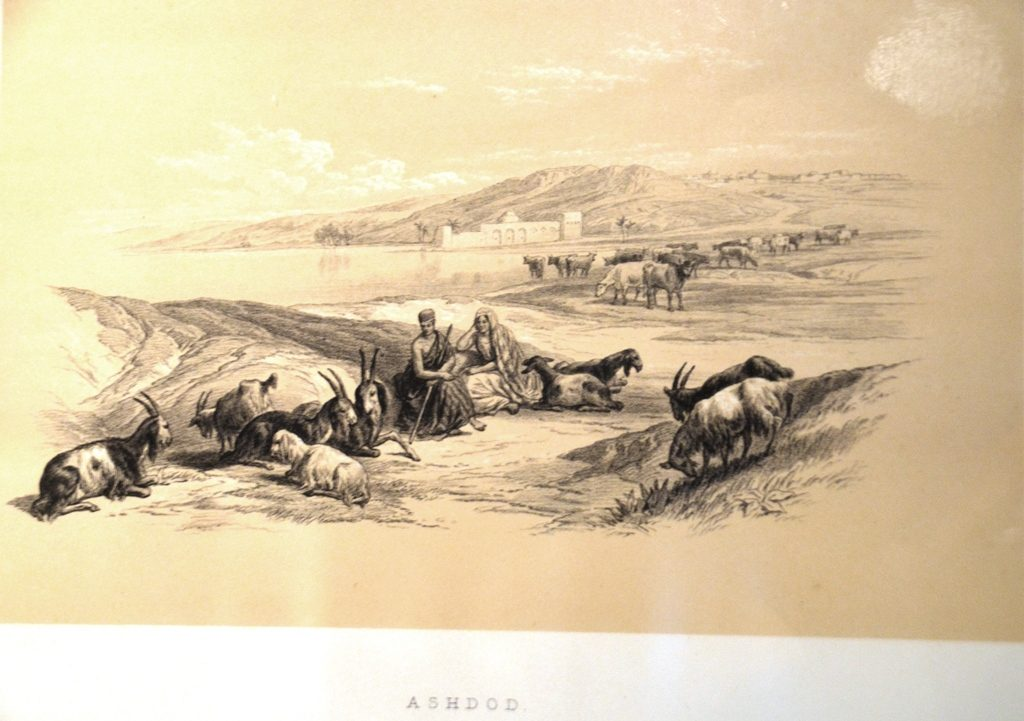 Image of Ashdod port in 1839 BLMJ exhibit