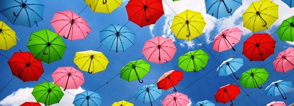 Jerusalem street umbrellas