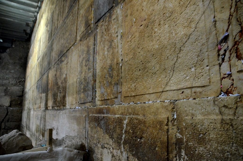Stones of Western Wall under ground