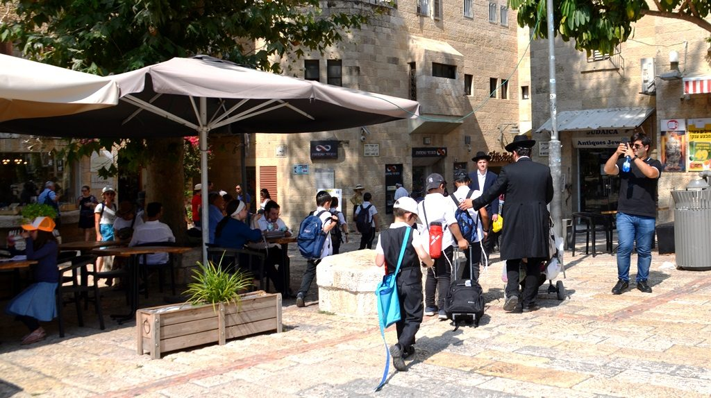 Children in Jewish Quarter on trip