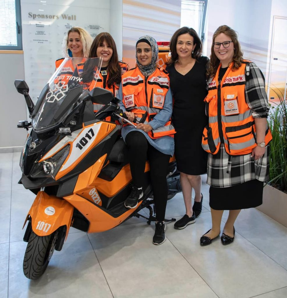 Female volunteers of United Hatzalah with Sheryl Sandberg in Jerusalem