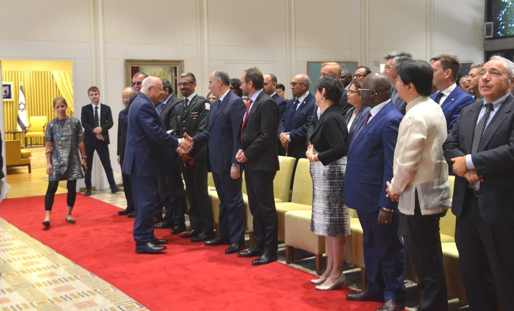 Jordan Ambassador shaking hands with President Rivlin in Jerusalem Israel
