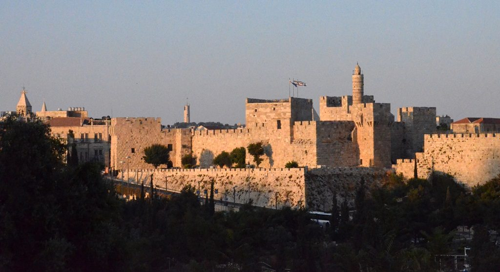 View of Old City walls in Jerusalem Israel at sunset