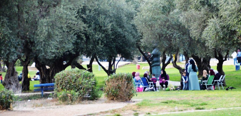 Muslim women in Liberty Bell Park in Jerusalem Israel