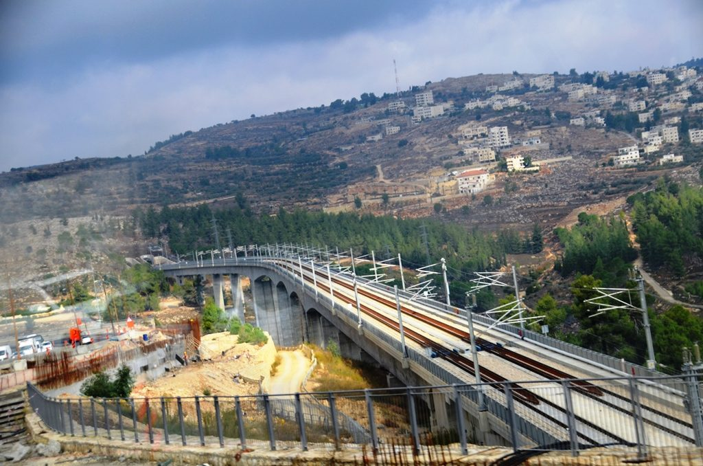 Next to Jerusalem route one rail construction