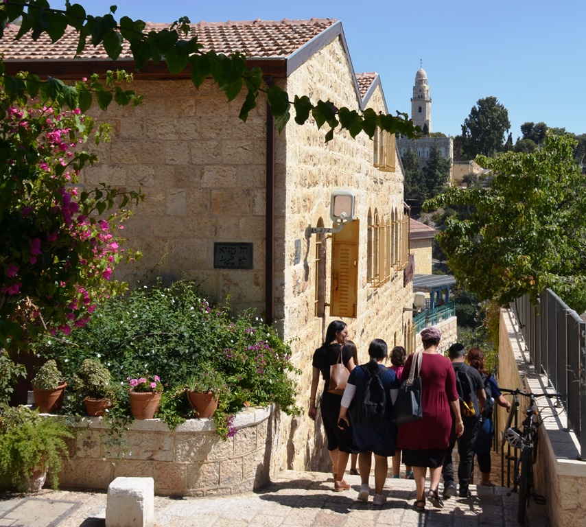 Yemin Moshe tourist walking down steps Jerusalem I