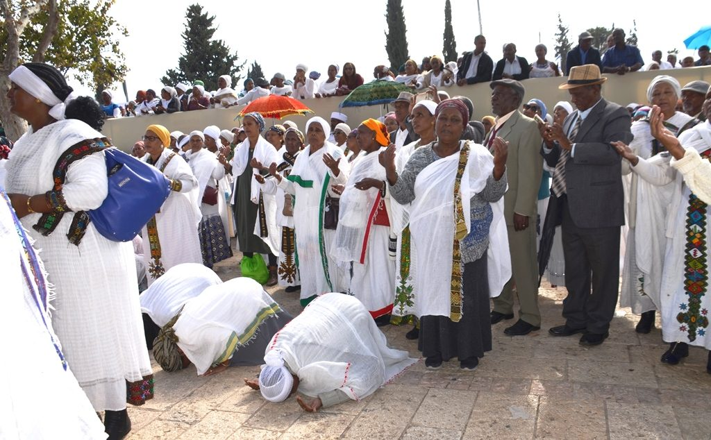 Ethiopian women praying on Sigd holiday in Jerusalem Israel