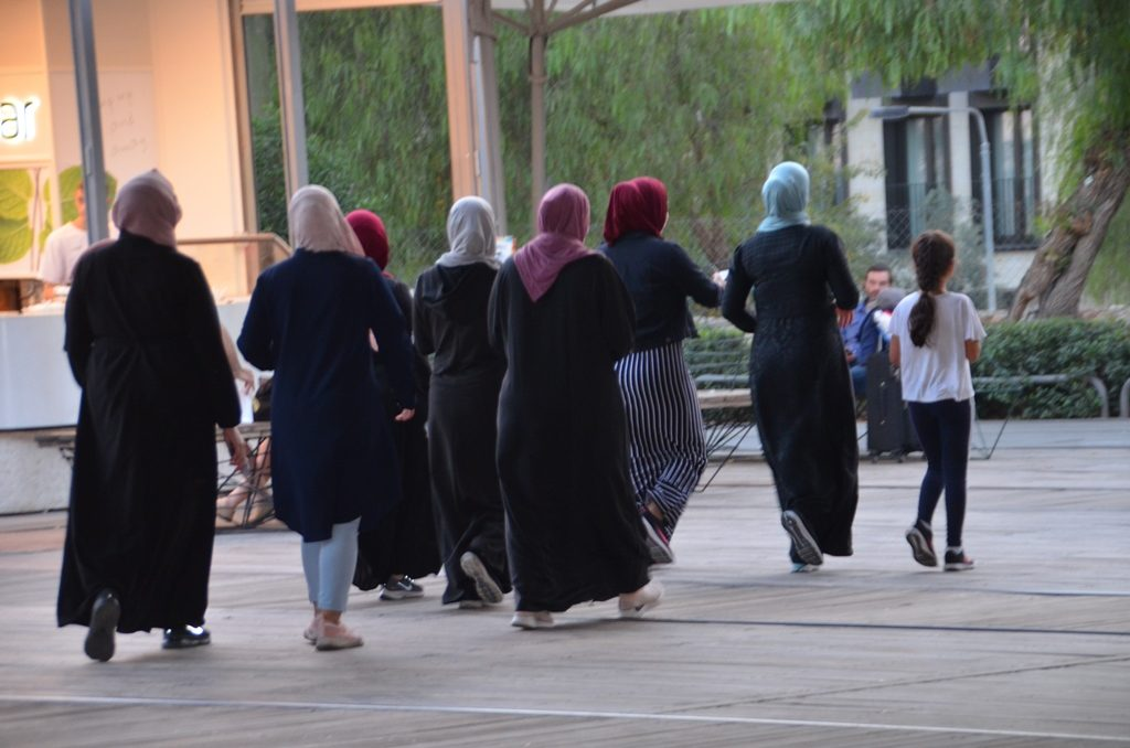 Arab women walking in First Station in Jerusalem Israel