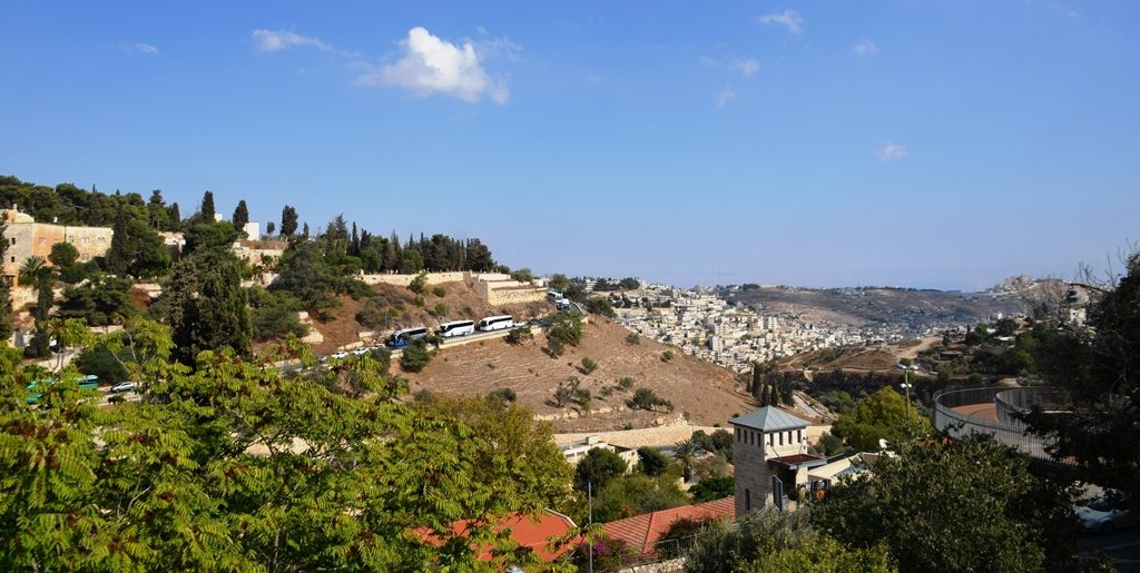 View from Yemin Moshe of Old City and road to Zion Gate