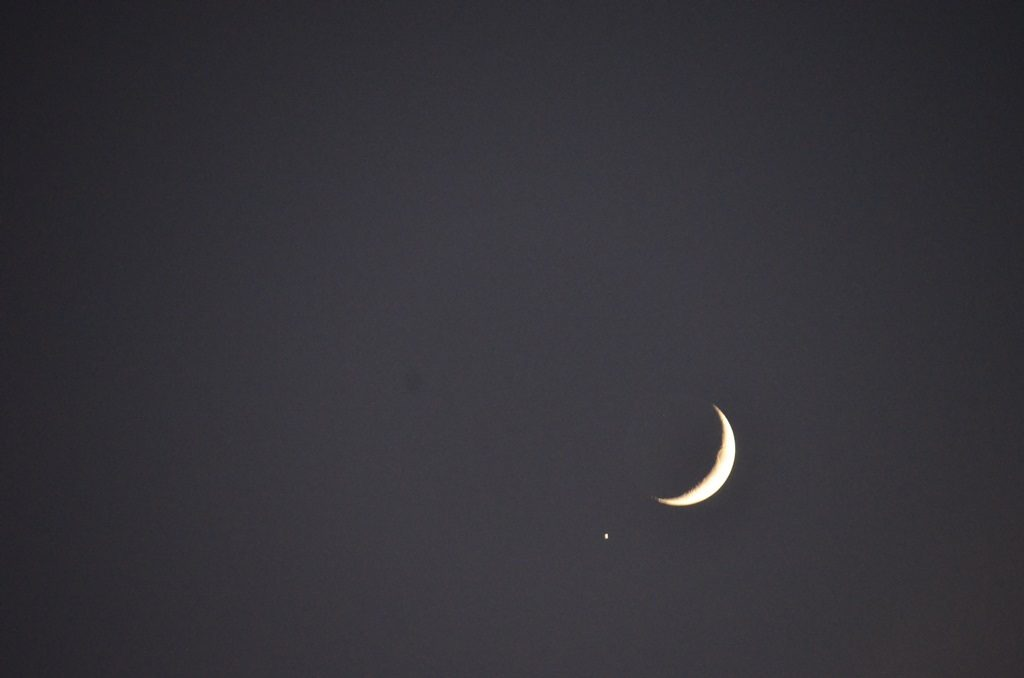 Jupiter and Moon in sky over Jerusalem Israel