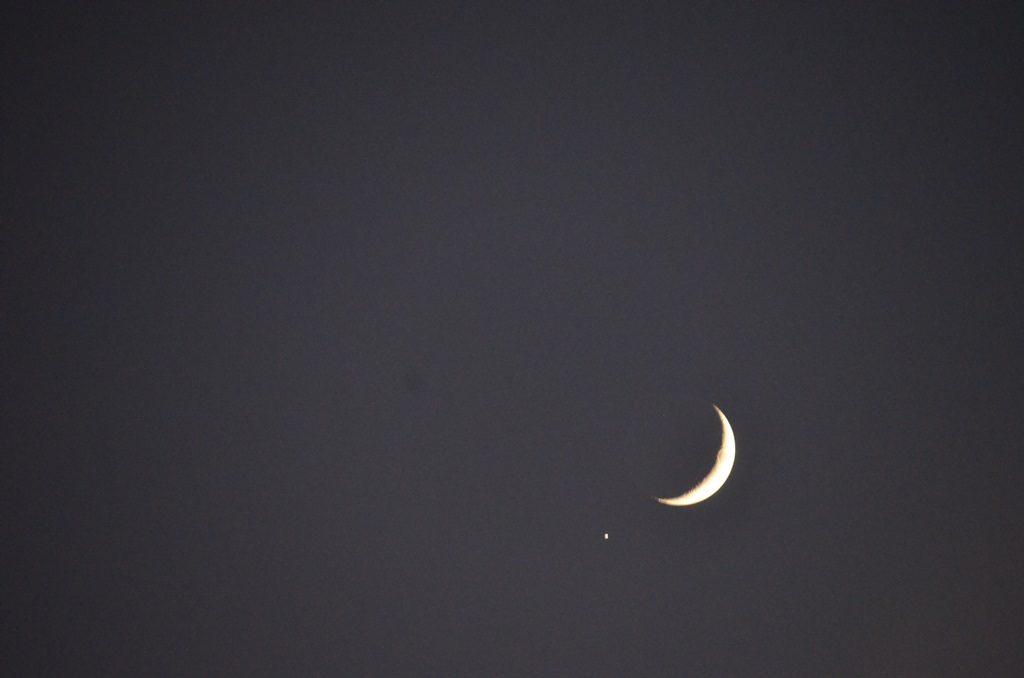 Jupiter and Moon in sky over Jerusalem Israel