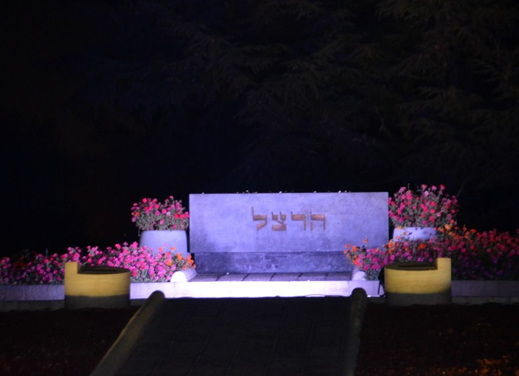 Jerusalem Har Herzl grave at night