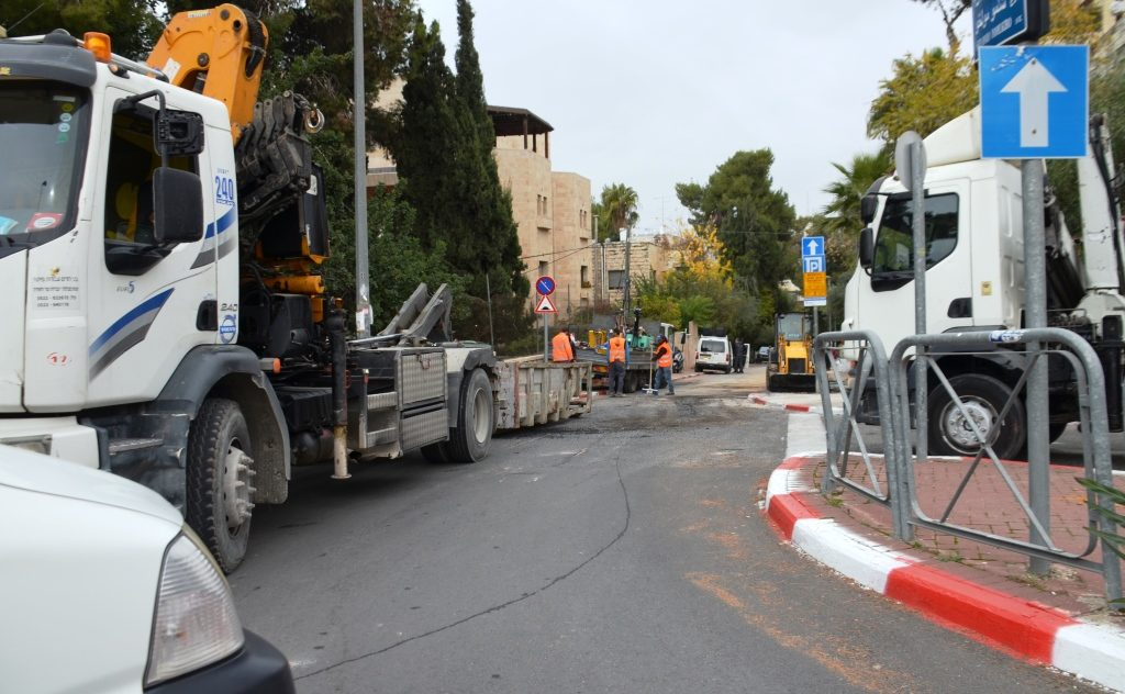 Road work on Jerusalem Israel street
