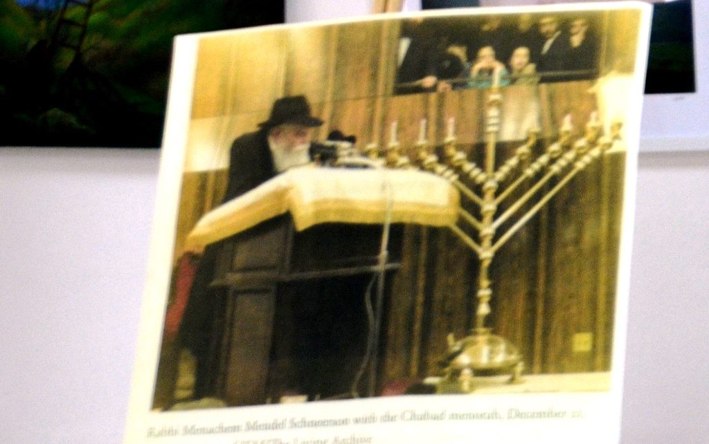 Photo of Lubavitcher Rebbe with Chanukah in style of Ramban yle of Rmaban.