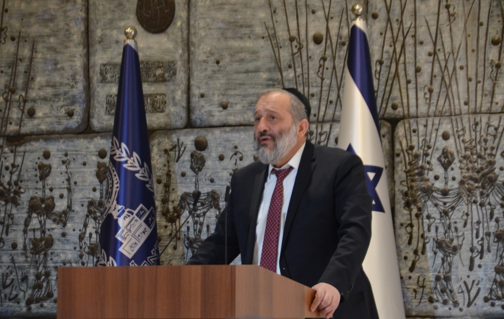 Interior Minister MK Rabbi Aryeh Deri at Israeli President's house for new year reception for Christian leaders