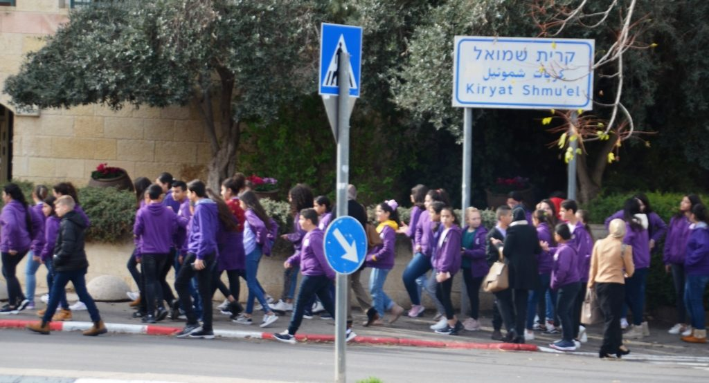 In Jerusalem a group of Arab high school students going to Islamic Museum