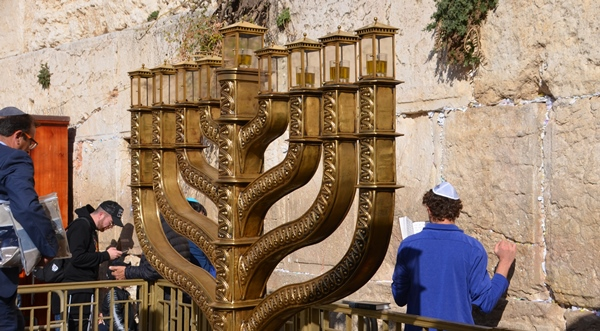 Menorah at Kotel for Hanukkah