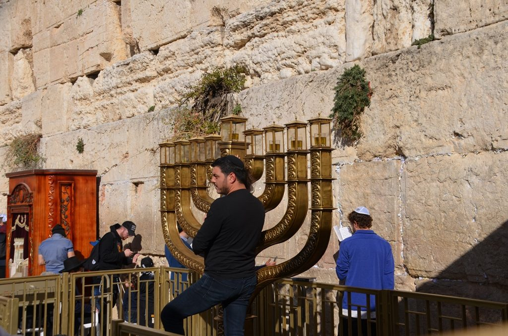 Hanukiah at the Kotel for Hanukkah