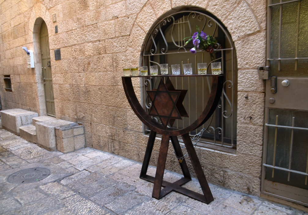 Large Hanukia outside a home in the Old City Jerusalem