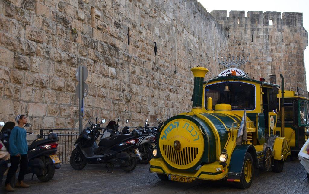 Hanuka menorah on top of train in Old City Jerusalem