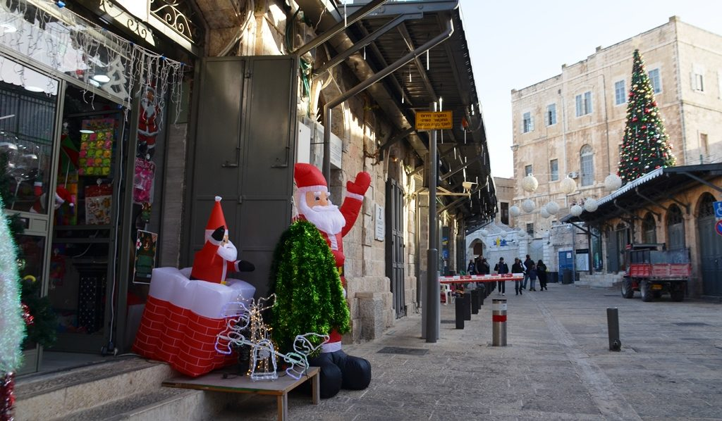Jerusalem Israel New Gate decorated for Christmas holiday