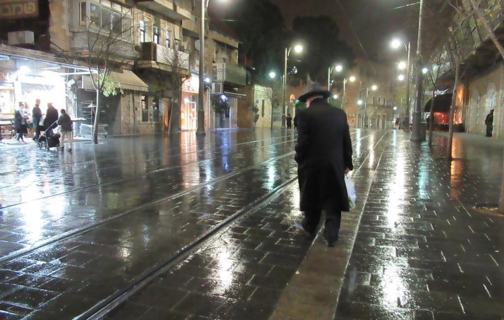 Jerusalem Israel rainy night on Jaffa Road