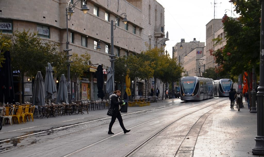 Winter morning on Jaffa Street in Jerusalem Israel