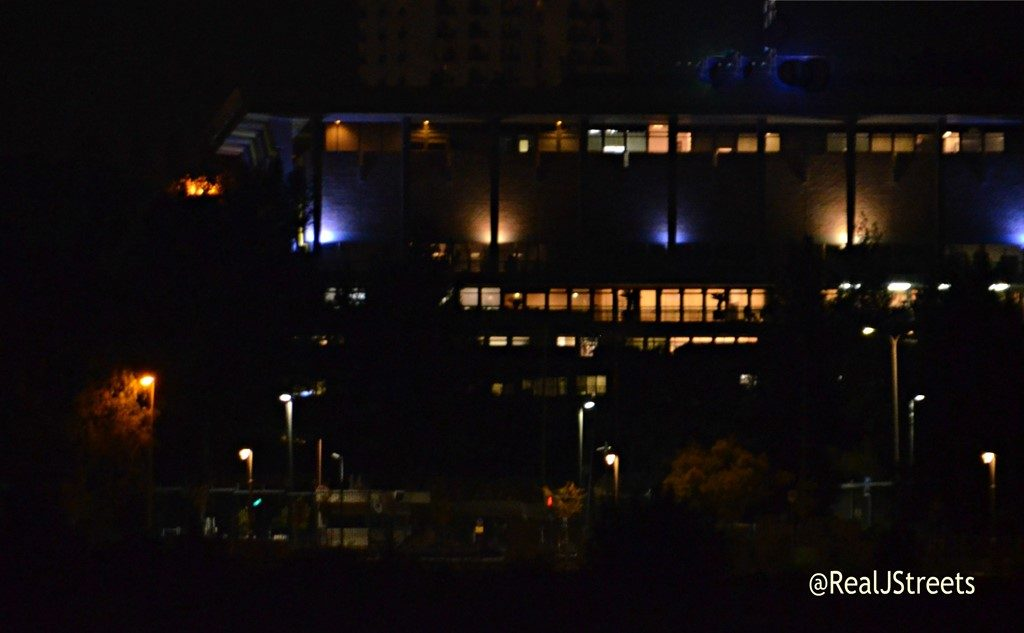 Israeli Knesset at night with lights on