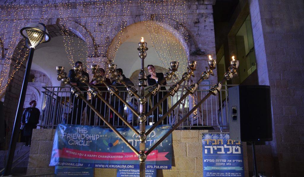 Jerusalem candle lighting at Mamilla Mall