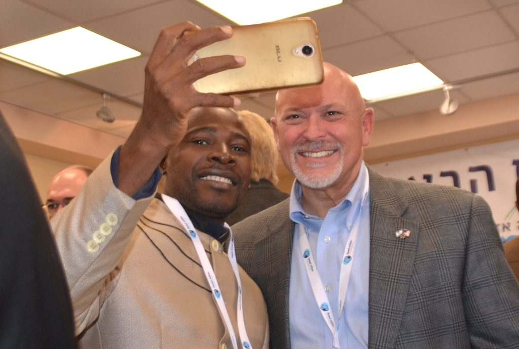 Sierra Leone Thomas Coker and US SC Alan Clemmons take a selfie on Israel Allies tour to Shomron