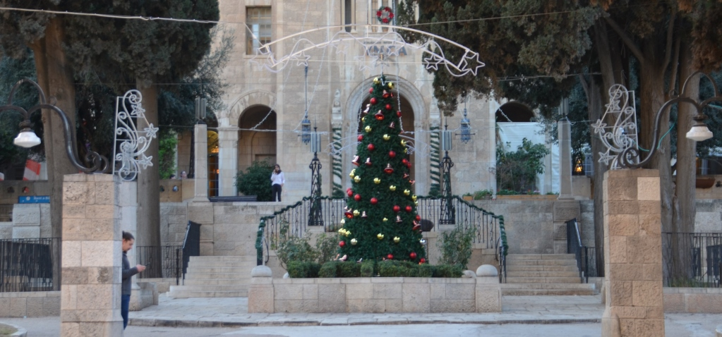 Jerusalem Christmas decorations at YMCA