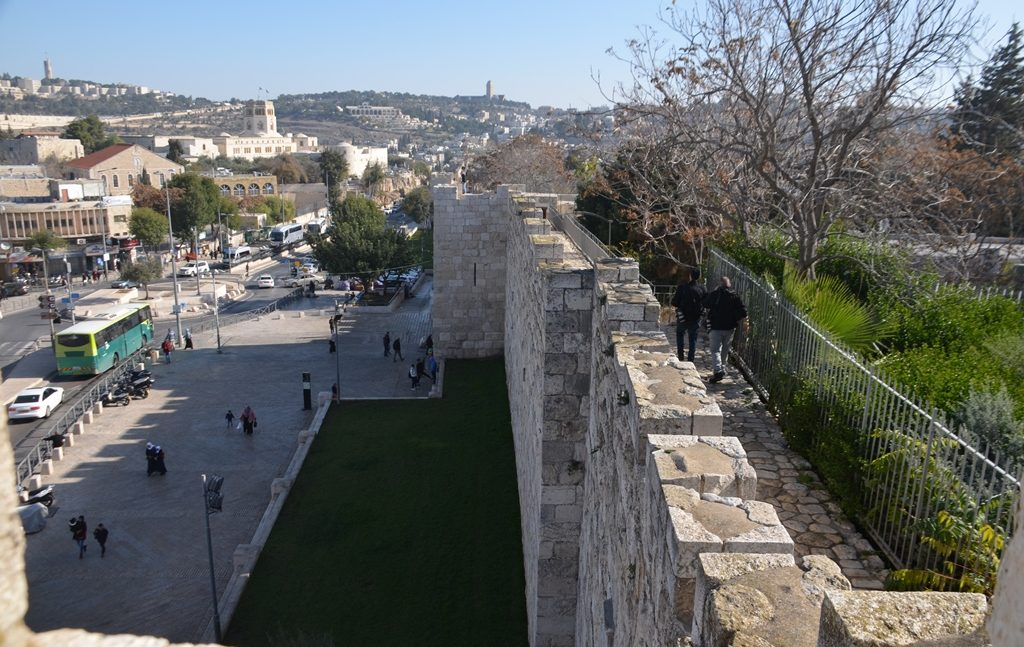View from top of Old City Walls out to Jerusalem street