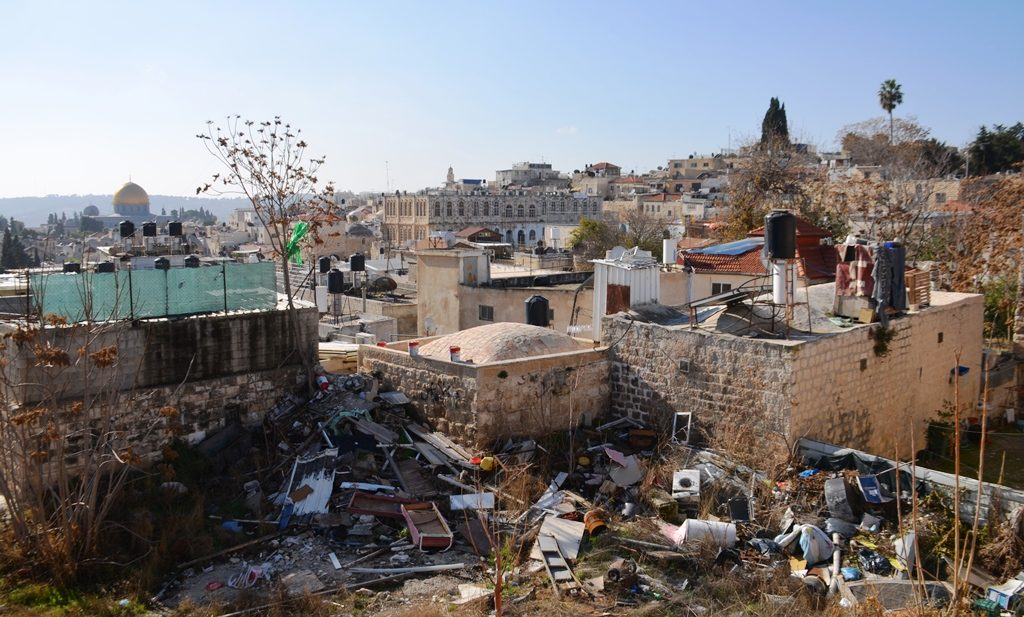 View of rubbish inside the Old City Muslim Quarter on private land