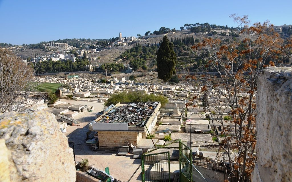 View from Old City Ramparts Path of cemetery below