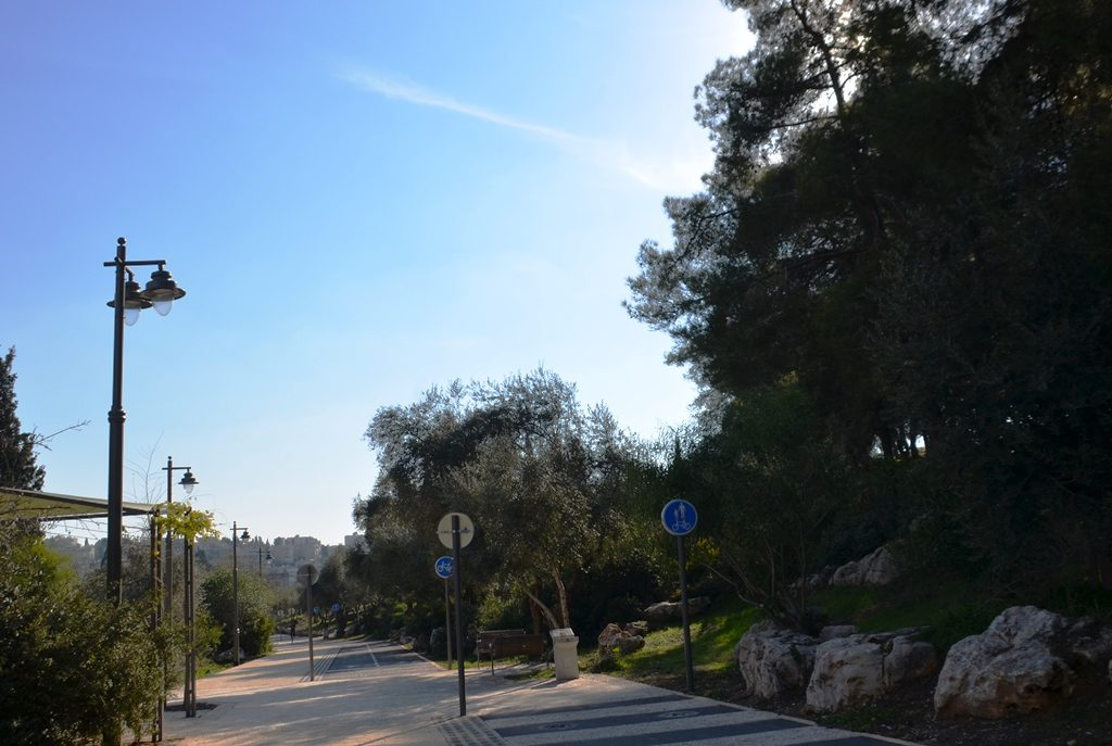 Jerusalem Israel walking and biking path near Gan Sacher