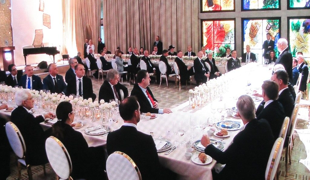 View of dinner hosted by President Rivlin for 40 international world leaders