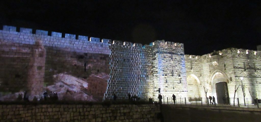 Jerusalem Israel Old City walls with a projection