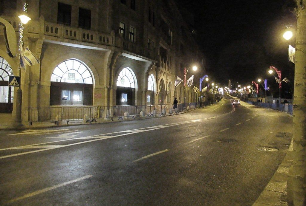 Jerusalem Israel street closed at night