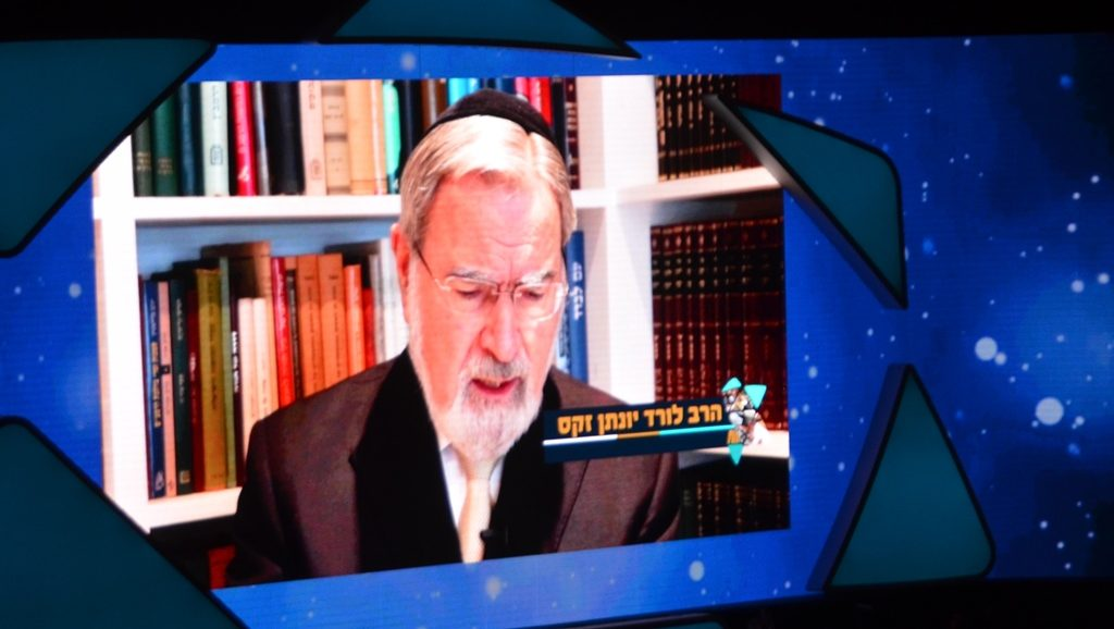 Rav Yonaton Sacks speaking in video message to Siyum HaShas