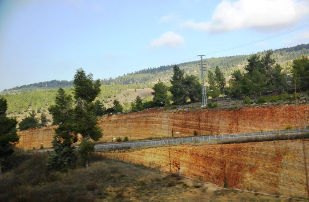 Jerusalem Israel hills where new roads have been built
