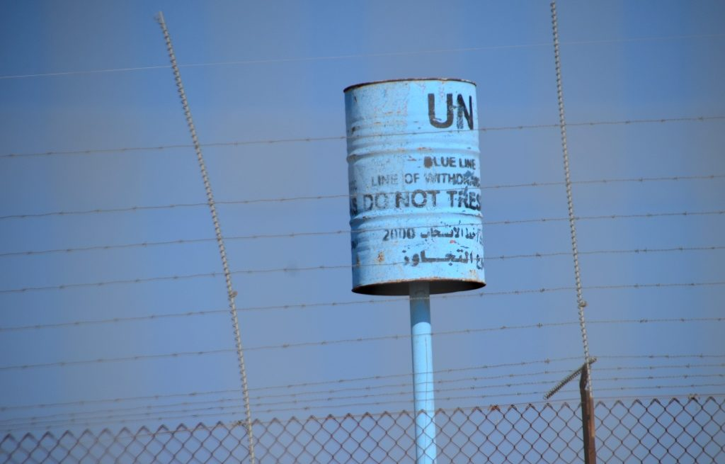 UN Blue Line marker near Israel Lebanon border