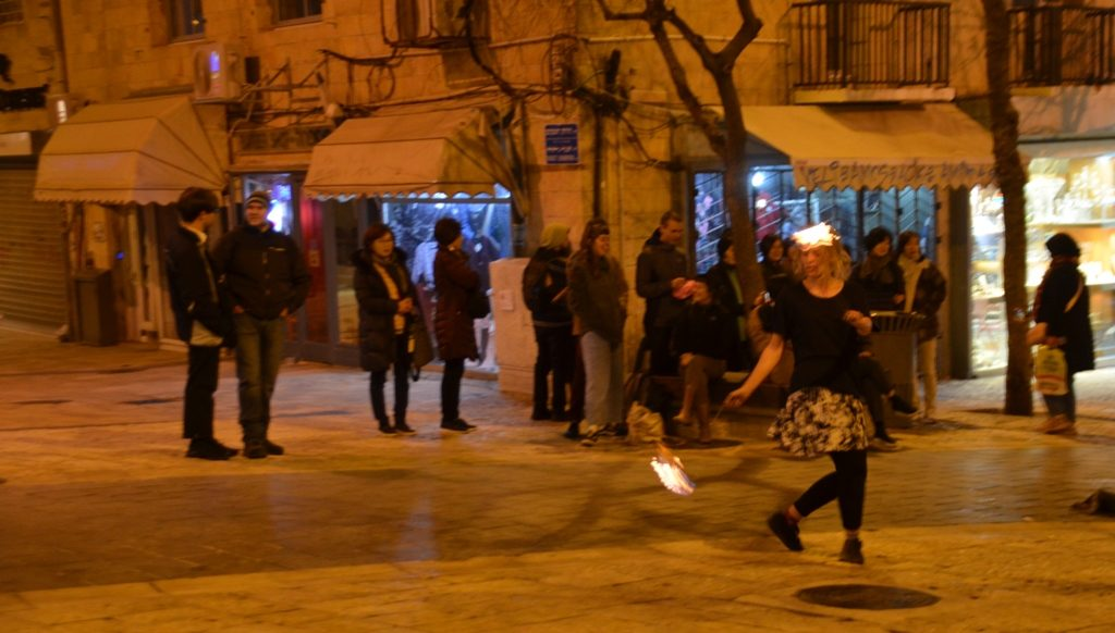 Fire performance on Jerusalem Israel Ben Yehudah Street