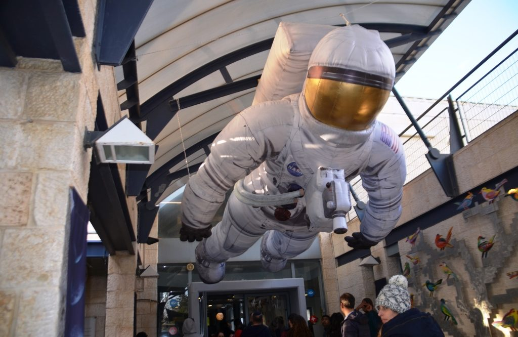 Balloon Astronaut at Jerusalem science museum entrance